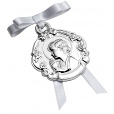 Niño Con Flores Cradle Medallion by Pedro Duran in Sterling silver